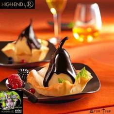 poached pears topped with chocolate